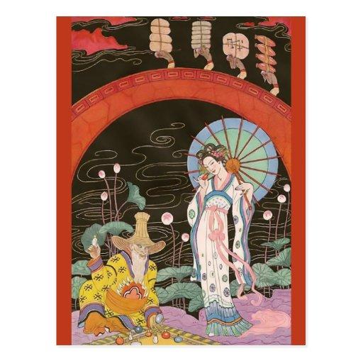 Vendedor chino del perfume de George Barbier Tarjetas Postales
