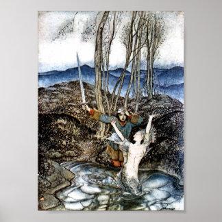 Vendedor Colvill y el poster de la sirena
