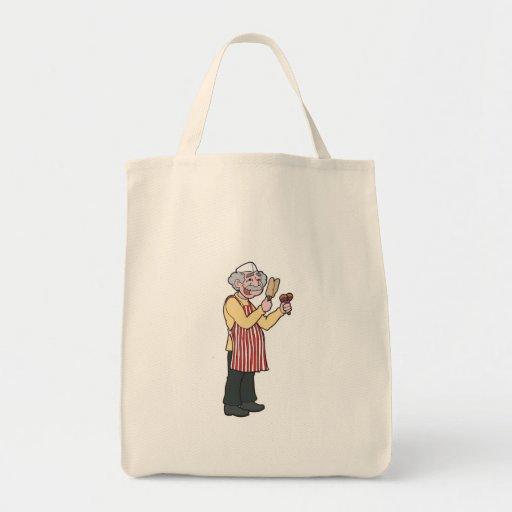 vendedor de comida bolsa tela para la compra