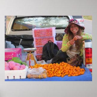 Vendedor de la mandarina póster