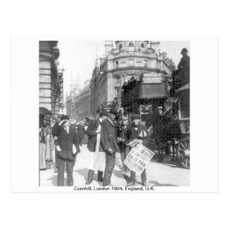 Vendedor de las noticias de Cornhill Londres 1904 Postales