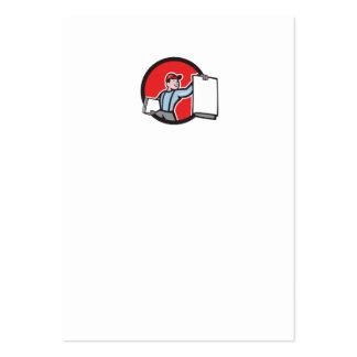 Vendedor de periódicos que vende el dibujo animado plantilla de tarjeta de visita
