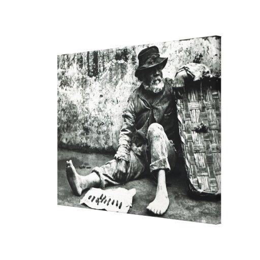 vendedor del Cigarro-fin, c, 1865 (foto de b/w) Impresión En Lienzo Estirada
