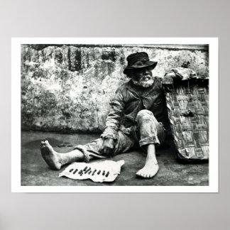 vendedor del Cigarro-fin, c, 1865 (foto de b/w) Póster