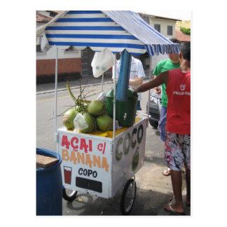 Vendedor del coco en el Brasil Postal