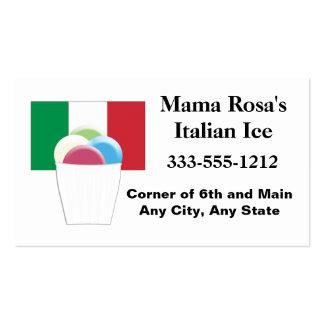 Vendedor del hielo o tarjeta de visita italiano de