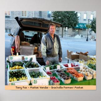 Vendedor del mercado - el mercado de los granjeros póster