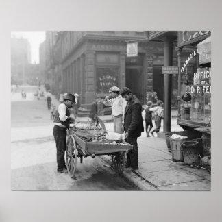 Vendedor en poca Italia, 1906 de la almeja. Foto Póster