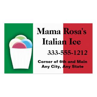 Vendedor o tienda italiano del hielo con colores tarjetas de visita