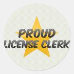 Vendedor orgulloso de la licencia pegatinas redondas