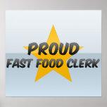 Vendedor orgulloso de los alimentos de preparación impresiones