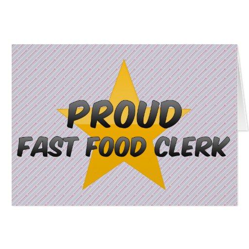 Vendedor orgulloso de los alimentos de preparación felicitacion