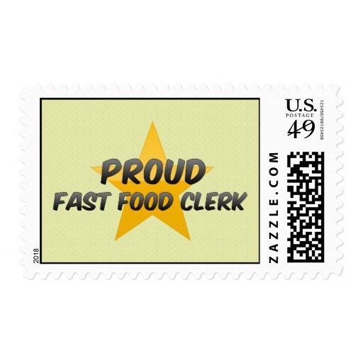 Vendedor orgulloso de los alimentos de preparación timbre postal