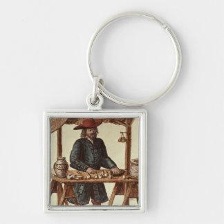 Vendedor veneciano del tabaco llavero cuadrado plateado