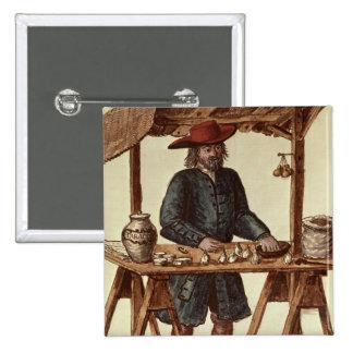 Vendedor veneciano del tabaco pin cuadrado