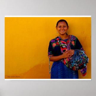 Vendedora de tejidos, Antigua Guatemala Póster