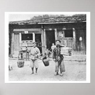 Vendedores ambulantes chinos, c.1870 (foto de b/w) posters