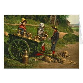 Vendedores Bruselas Bélgica 1890 de la leche Tarjeta De Felicitación