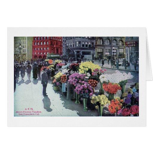Vendedores de flor, vintage 1926 de San Francisco Tarjeta