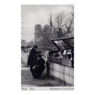 Vendedores de libro usados, vintage de Notre Dame  Poster