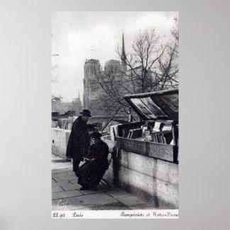 Vendedores de libro usados, vintage de Notre Dame  Póster