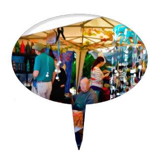 Vendedores del arte en el festival del ajo palillos de tarta