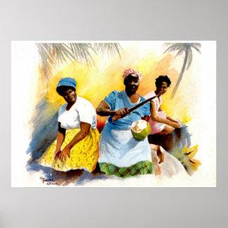 Vendedores del coco en Antigua Póster