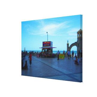 Vendedores del paseo marítimo en el arte b de impresion en lona