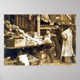 Vendedores vegetales de Boston - 1900s tempranos Póster