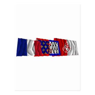 Vendée, Pays-de-la-Loire & France flags Postcard