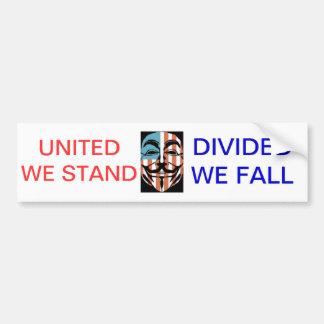 vendetta america mask, UNITED WE STAND, DIVIDED... Car Bumper Sticker