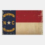 VENDIMIA de la bandera del estado de Carolina del Pegatina Rectangular