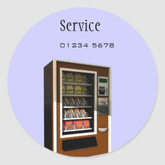 vending machine service tag classic round sticker