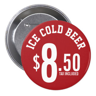 Vendor Concession Supplies - Ice Cold Beer Seller Pinback Button
