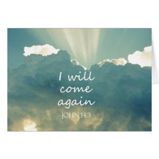 Vendré otra vez verso de la biblia tarjeta de felicitación