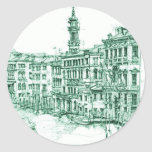 Venecia en tinta verde etiqueta redonda