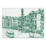Venecia en tinta verde felicitación