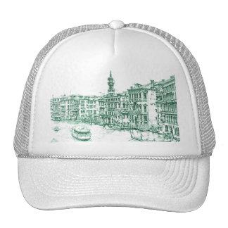Venecia en tinta verde gorros bordados