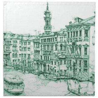 Venecia en tinta verde servilletas de papel