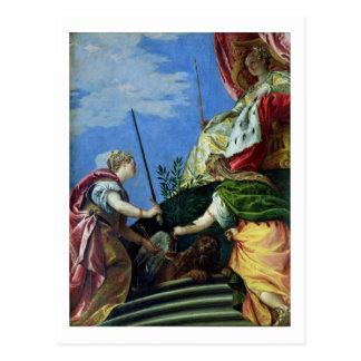 Venecia enthroned entre la justicia y la paz tarjetas postales