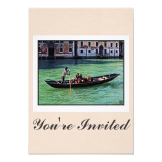 """Venecia Gandola y canal con cita del amor Invitación 5"""" X 7"""""""