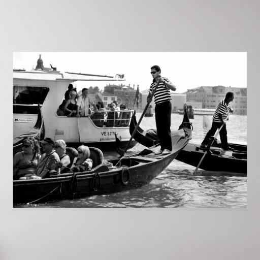 VENECIA GONDOLERS EN EL GRAN CANAL PÓSTER