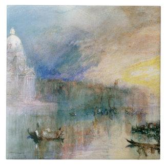 Venecia: Gran Canal con saludo del della de Santa  Teja Ceramica