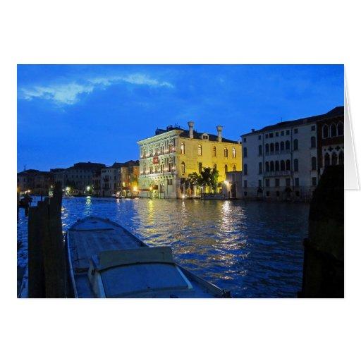 Venecia - Gran Canal en la noche Felicitacion
