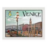 Venecia - Gran Canal y puente de Rialto Postal