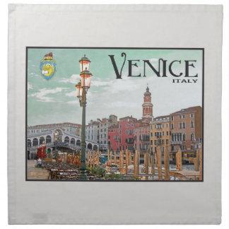 Venecia - Gran Canal y puente de Rialto Servilleta