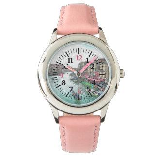 Venecia hermosa Italia con números rosados Reloj