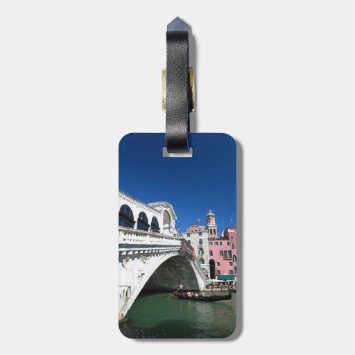 Venecia hermosa, puente de Rialto Etiqueta De Equipaje