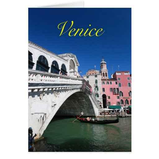 Venecia hermosa, puente de Rialto Tarjeta De Felicitación