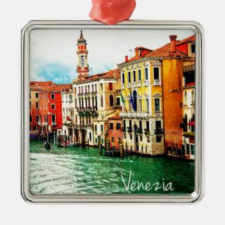 Venecia - Italia Adorno Navideño Cuadrado De Metal